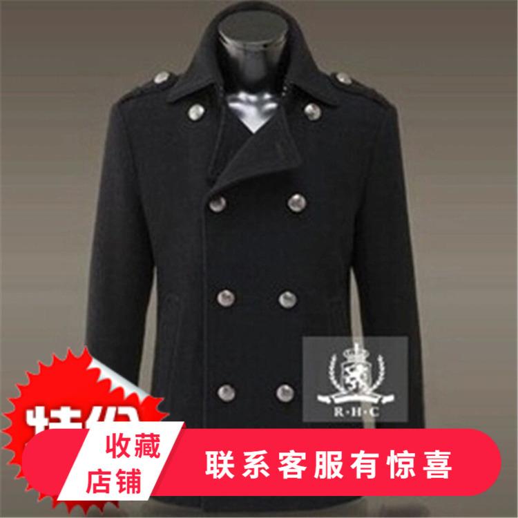German slim double breasted woolen overcoat mens short jacket with metal caviar buckle