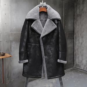 金豆多多 长款B3皮毛一体飞行服绵羊男皮草风衣大衣真皮皮衣外套