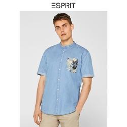 纯棉男士衬衫拼接印花口袋衬衫男夏新款ESPRIT EDC-059CC2F003