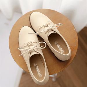 鞋子2019新款女小皮鞋女英伦风韩版女鞋冬季加绒百搭单鞋大码女鞋