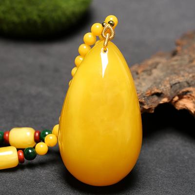 天然琥珀蜜蜡水滴吊坠鸡油黄蜜蜡原石挂件男女款毛衣链新品项链