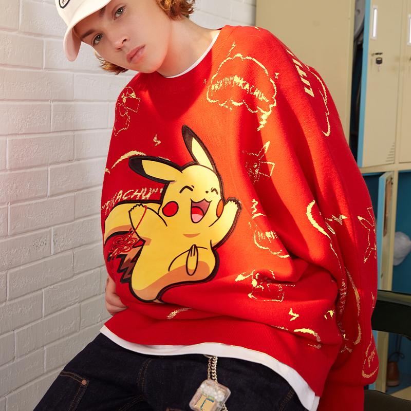 LITLAB宝可梦联名红色刺绣中国结皮卡丘新年毛衣男女涂鸦针织上衣
