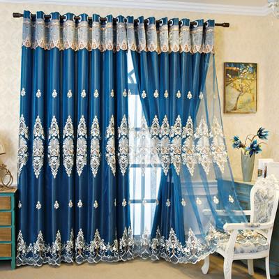 北欧简约双层窗帘窗纱全遮光布隔音隔热客厅卧室阳台高档大气奢华