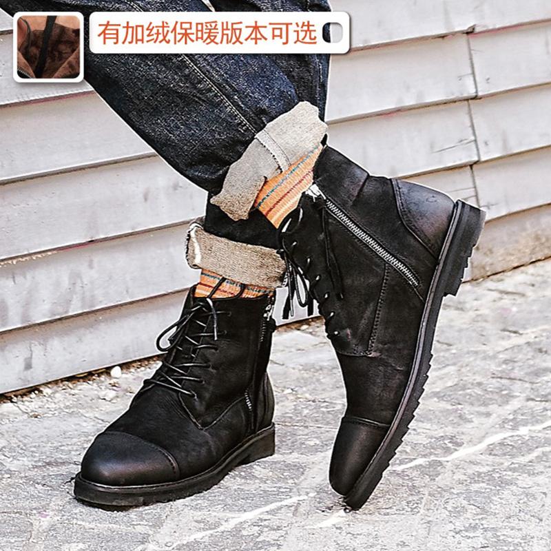 欧美男靴真皮高帮靴复古工装靴英伦男鞋沙漠靴军靴休闲马丁靴潮鞋