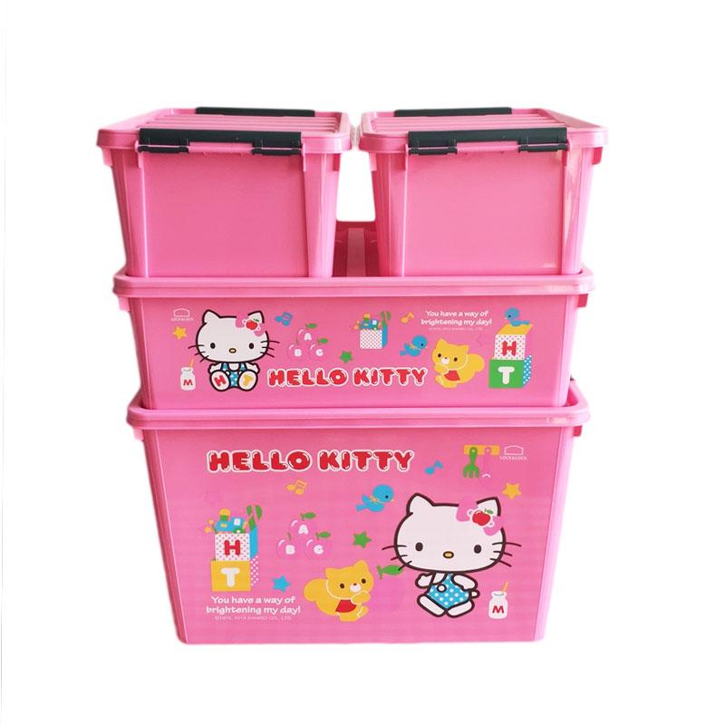 正品乐扣Hello KITTY儿童储物收纳盒60L箱30L储物盒INP113 INP111