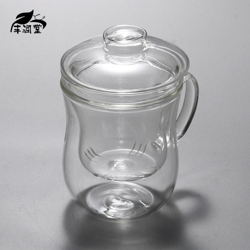 包邮玻璃杯窈窕淑女杯美体杯三件套杯泡茶杯办公专用杯花茶杯