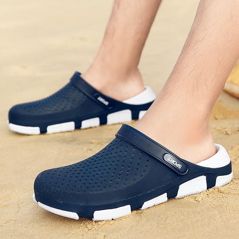 凉鞋男潮拖男洞洞鞋男包头两用凉拖鞋男夏季沙滩鞋男防滑鸟巢沙滩