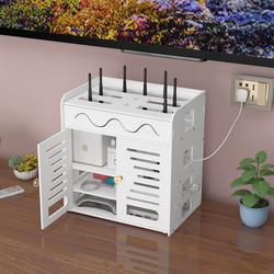 路由器收纳盒wifi猫遥控器收纳架插排电线插线板整理机顶盒置物架