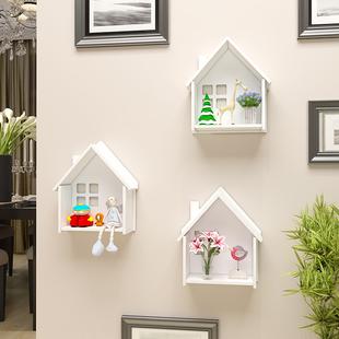 墙面装 饰架小房子壁挂隔板挂件壁饰免打孔 饰墙上置物架客厅卧室装
