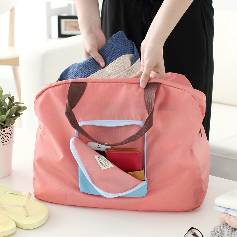 Folding travel bag can be covered with trolley case portable portable travel bag large capacity storage bag environmental protection bag waiting for delivery bag female