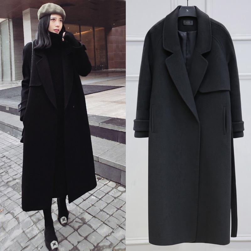 过膝羊绒双面呢子大衣女中长款2019秋冬季学生加厚赫本风毛呢外套