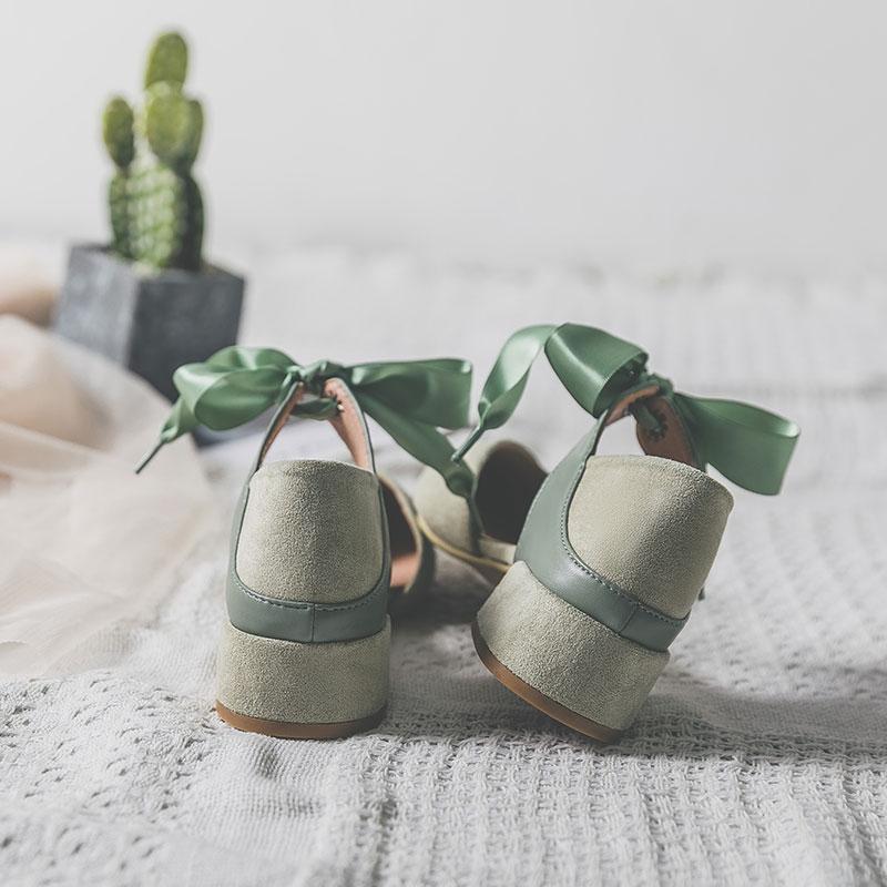 凉鞋女仙女风2020夏新款搭配裙子包头绑带粗跟中跟学生尖头高跟鞋图片