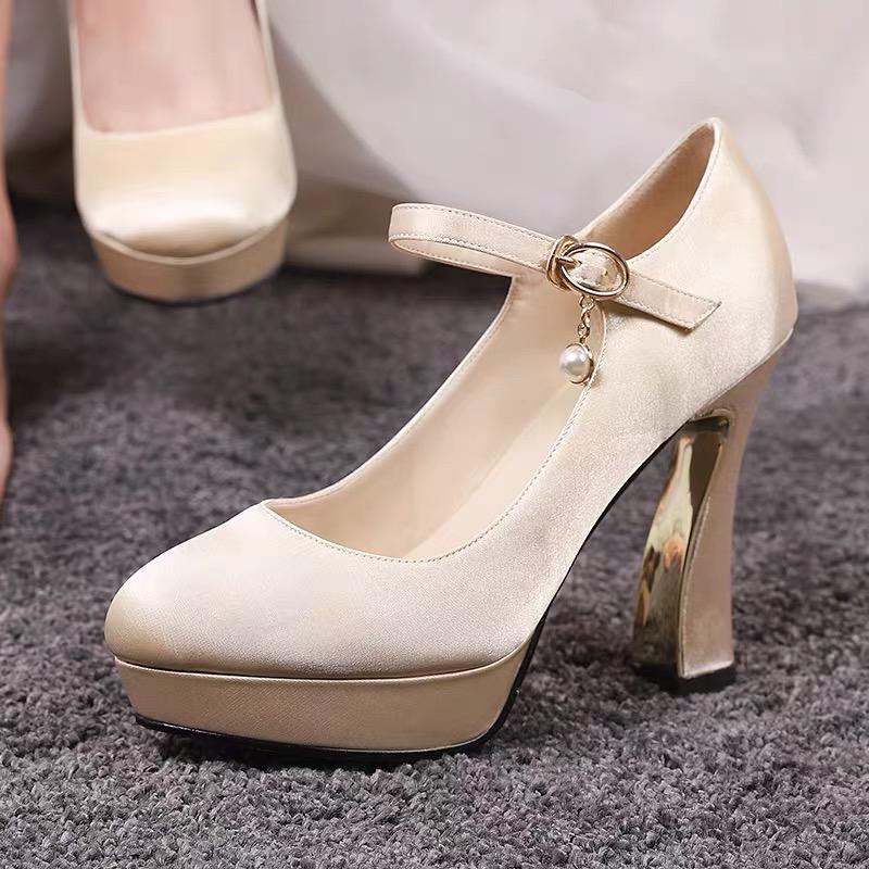 11厘米防水台粗跟女婚纱红色高跟鞋