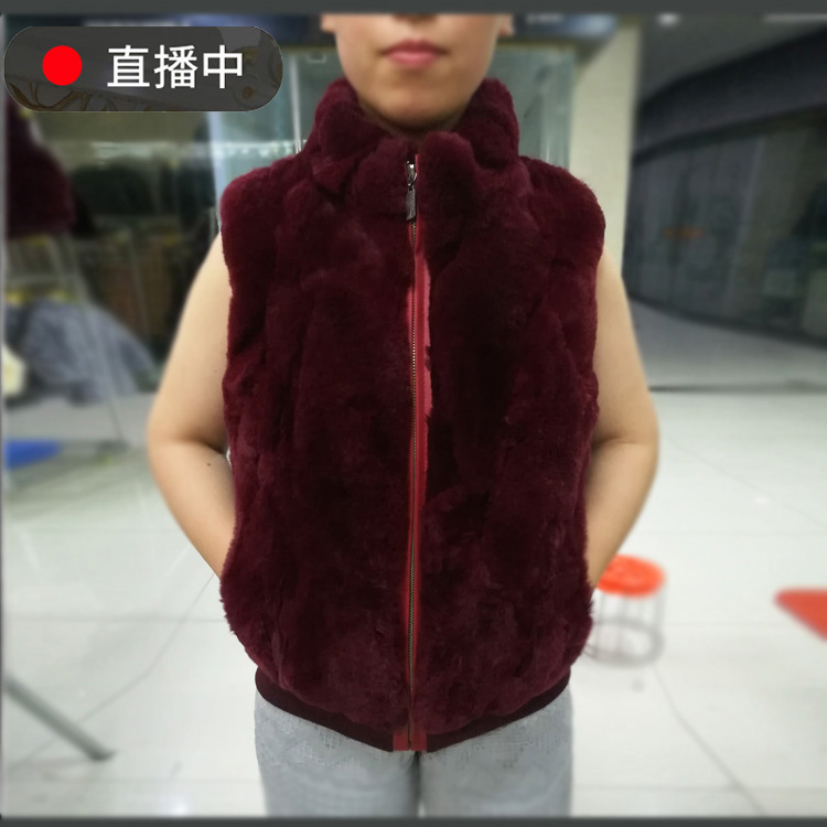 Autumn and winter 2018 new middle-aged and elderly fur vest womens short jacket cotton cantilevered Rex rabbit hair warm vest sleeveless