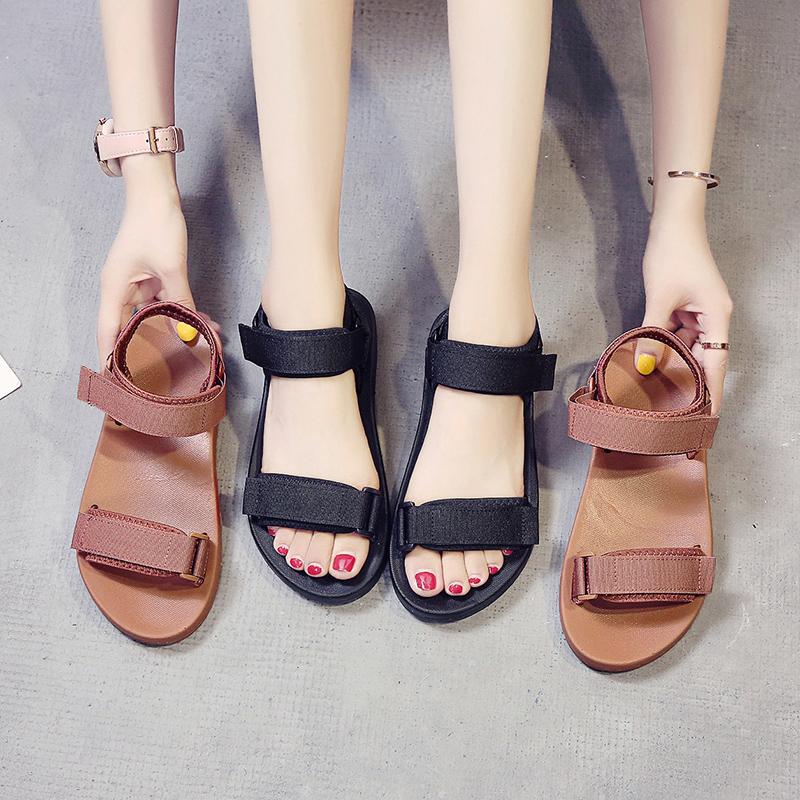 Sports sandals womens Velcro new summer versatile student pregnant womens Non Slip fairy flat bottom beach shoes
