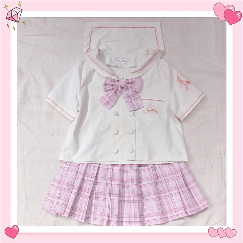 Japanese Short Sleeve sailor shirt collegiate summer JK uniform student uniform moon embroidery sweet shirt