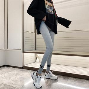 实拍?#23548;?#38024;织打底裤女2019秋新款外穿百搭修身显瘦紧身小脚裤