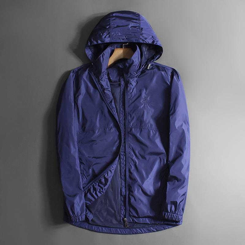 Young mens spring and autumn thin jacket outdoor leisure sports hooded waterproof windbreaker solid color single coat clearance