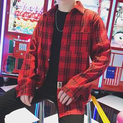 2018春装新款港风时尚格子男士长袖衬衫大码男装衬衣潮 C55-P45