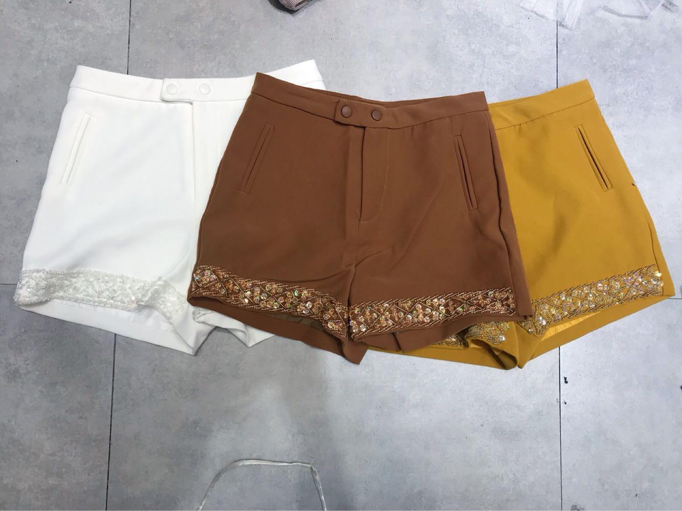 Twelve Color Purple new Thai fashion brand heavy industry nail bead casual versatile fashion shorts