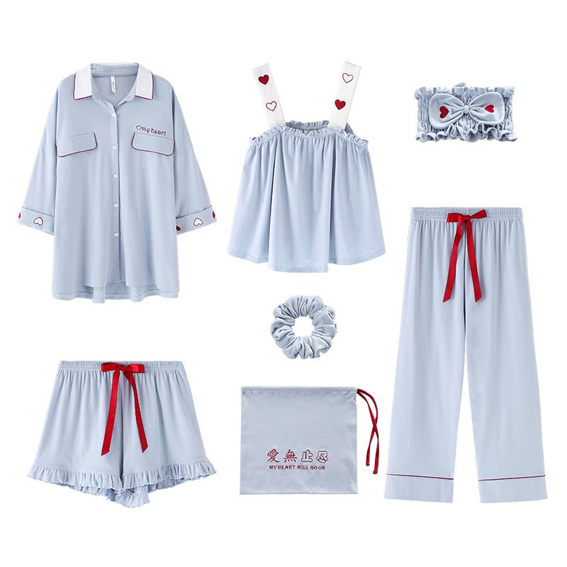 安之伴七件套睡衣夏季纯棉吊带短裤热销1493件限时秒杀