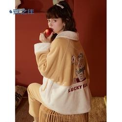 安之伴秋冬睡衣女复合珊瑚绒甜美可爱加绒加厚保暖可外穿家居服冬