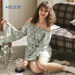 安之伴睡衣女夏薄款性感一字肩长袖短裤连体套装简约可外穿家居服
