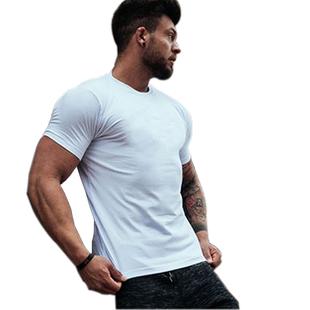 纯色打底健身锻炼短袖男运动t恤衫