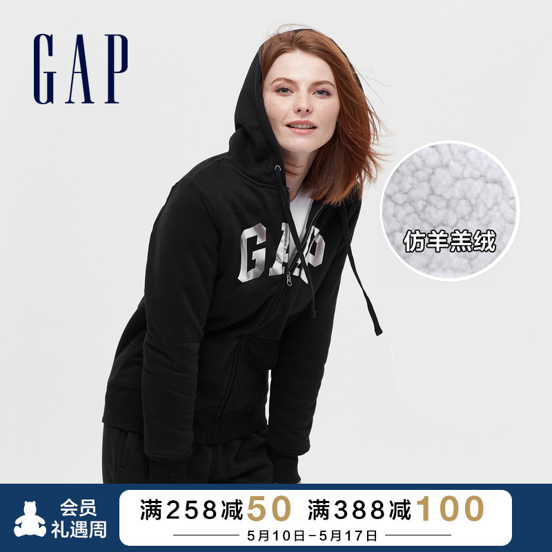 GAP men and women LOGO carbon soft grinding imitation lamb sweaters new lovers casual cardigan jacket