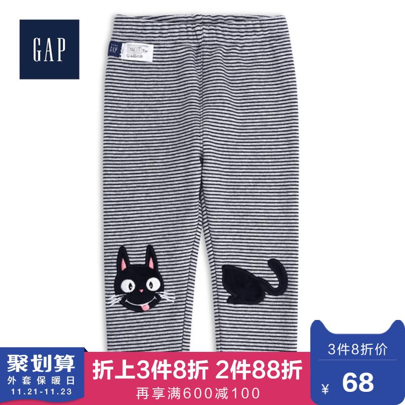 Gap婴儿小熊刺绣加绒运动裤秋装485204 2019新款童装宝宝长裤