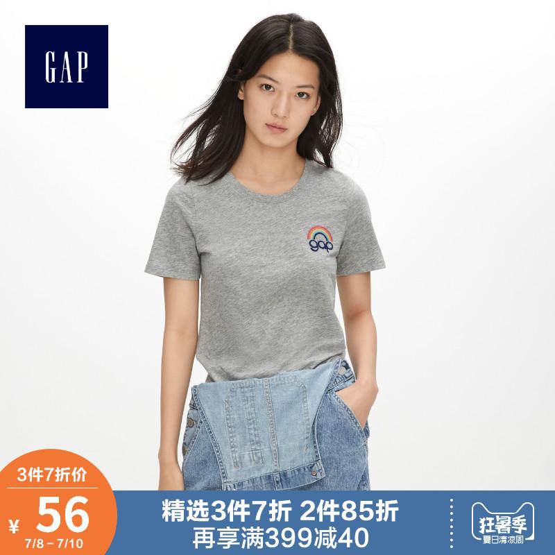 Gap女装纯棉短袖T恤夏季469018 2019新款时尚logo印花圆领上衣女