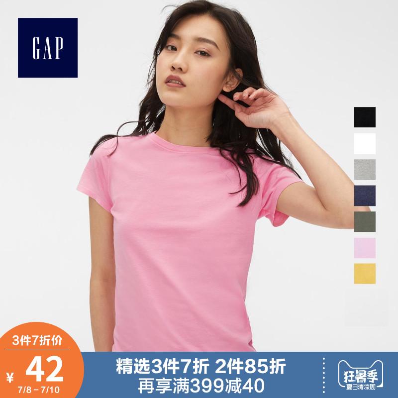 Gap女装纯棉短袖T恤夏季231912-1基础款纯色圆领女士修身休闲上衣