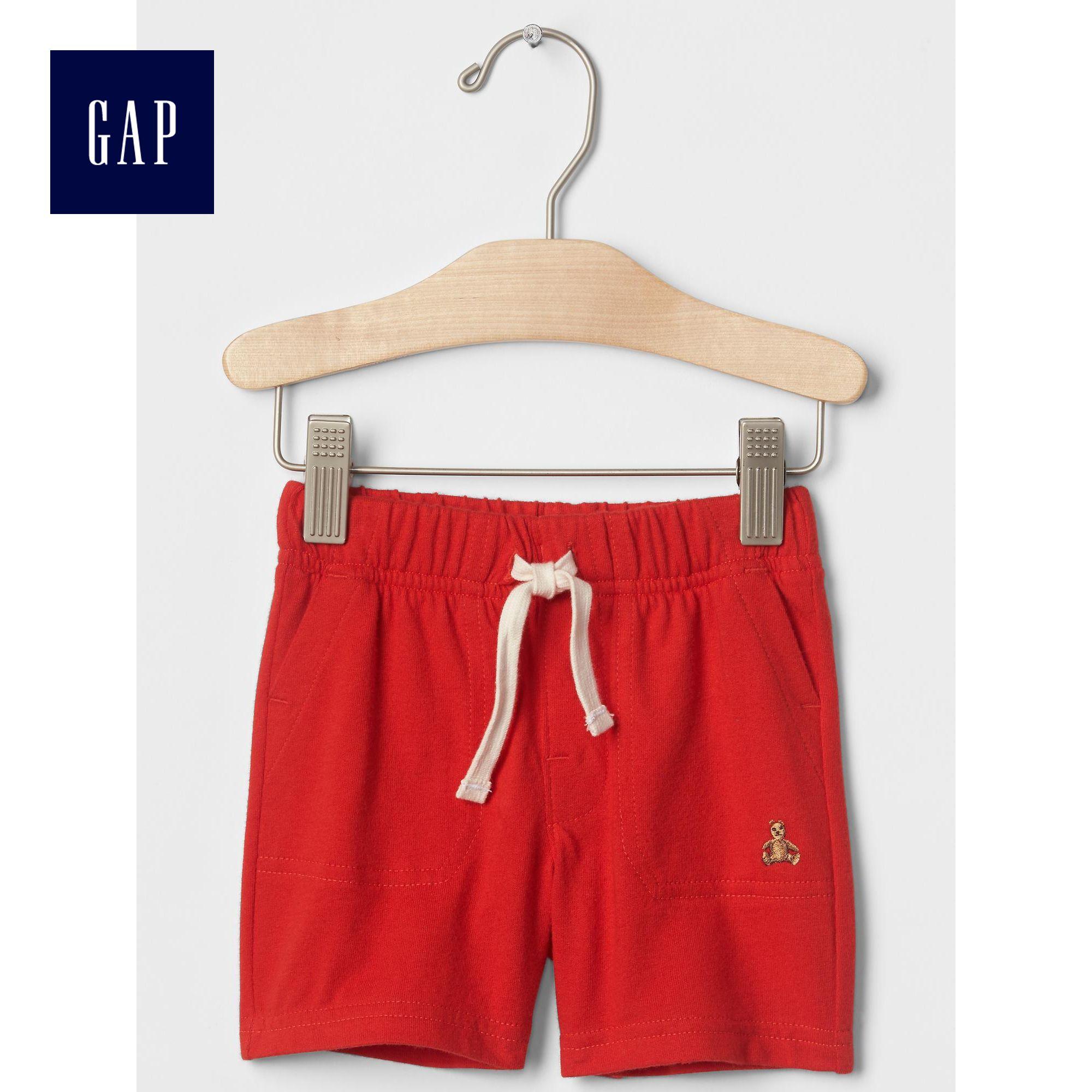 Gap男嬰兒 簡約靚麗純色全棉寶寶中腰短褲 皮筋腰帶褲子194526