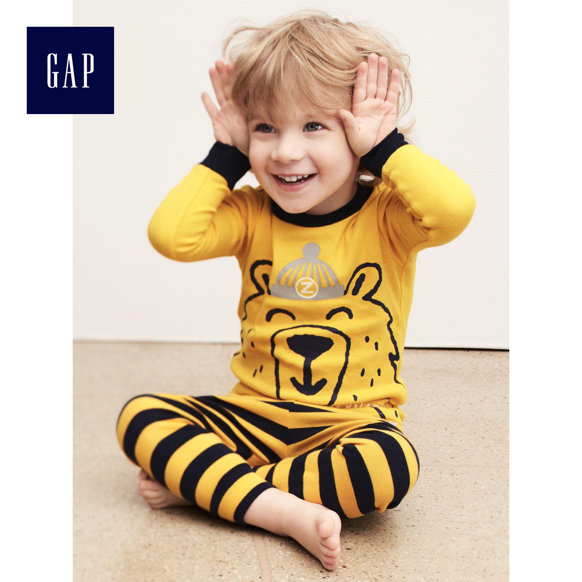 Gap男嬰幼童 趣味動物印花長款家居套裝232091