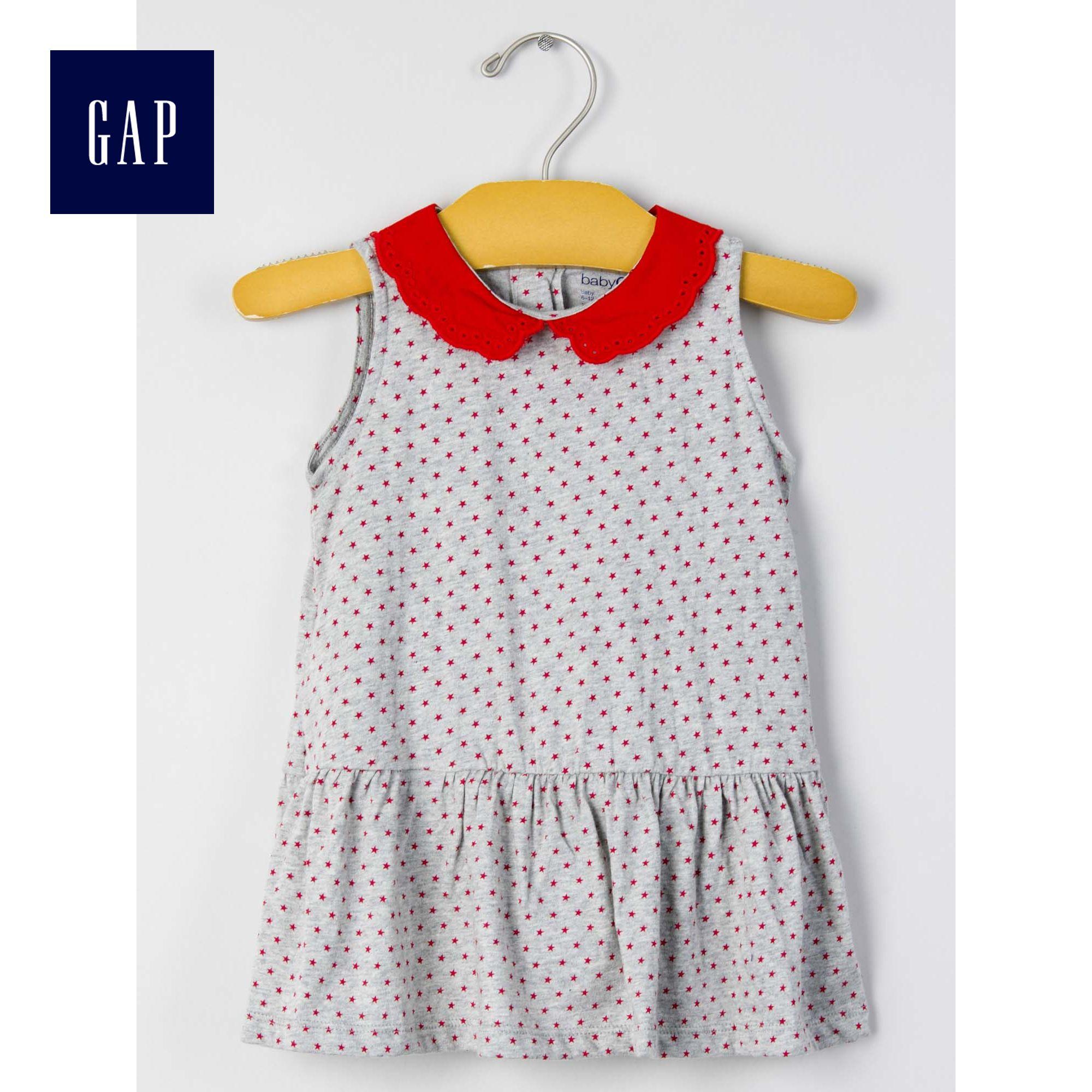 Gap女嬰兒 星星印花彼得潘領無袖連衣裙217308