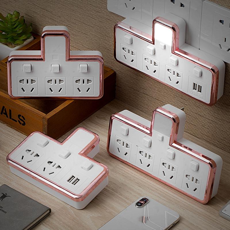 多功能转换插头智能插座转换器一转二三四无线usb插排插板带夜灯