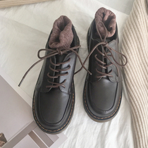 黑色复古圆头小皮鞋女英伦风日系学生休闲牛津鞋学院布洛克鞋单鞋