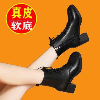 雪地意尔康马丁靴女2021年新款女鞋春秋单靴子百搭英伦真皮短靴女