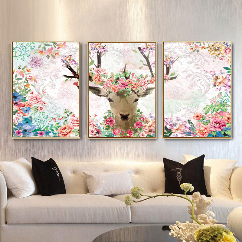 Nordic style living room sofa background wall decoration painting bedroom bedside hanging painting hotel will all frame painting elk L7