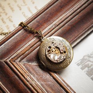 會一點手工vintage復古蒸汽朋克相片盒古銅色照片盒項鍊吊墜E092