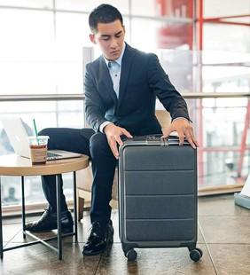 小米90分輕商務登機箱米家定製萬向輪旅行行李箱20寸前開蓋拉桿箱