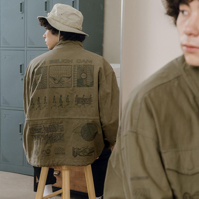 NOTHOMME新款潮牌多口袋后幅满幅印刺绣M65工装夹克翻领休闲外套