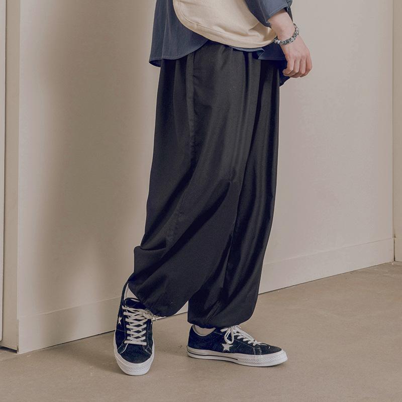 NOTHOMME日系潮牌高垂感宽松纯色灯笼裤男士春季收口阔腿休闲裤子