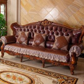 夏季沙发垫麻将欧式1+2+3组合套装防滑夏天款真皮罩凉席垫坐垫子