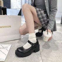 LFX04CQ0风单鞋小皮鞋预ol秋季新款复古方头粗跟乐福女2020天美意