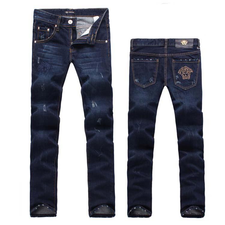 Европа, Осенний ветер вышивка высококлассные Mercerized чистый хлопок джинсы прямые ноги тонкий случайные ноги длинные штаны Мужские