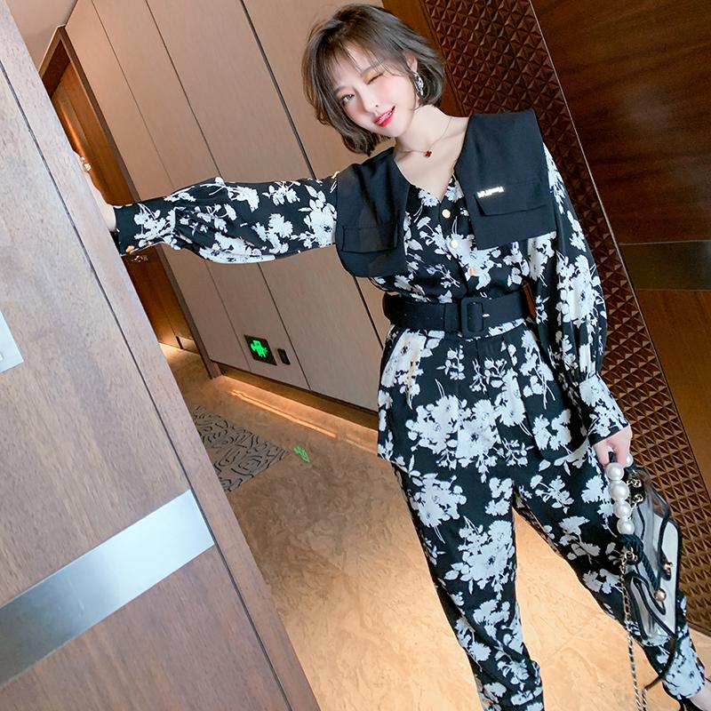 MIUCO气质OL风V领收腰印花显高显瘦直筒连体裤女装2021春季新款