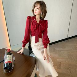 MIUCO系带蝴蝶结V领灯笼袖收口优雅气质百搭衬衫上衣女装2020春季
