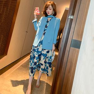 MIUCO挂脖西装外套+V领印花桔梗裙连衣裙两件套女2020款春季新款
