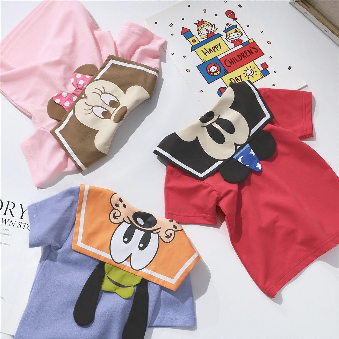 ins童装夏男女童洋气卡通海军风短袖T恤儿童海军领上衣宝宝学院风